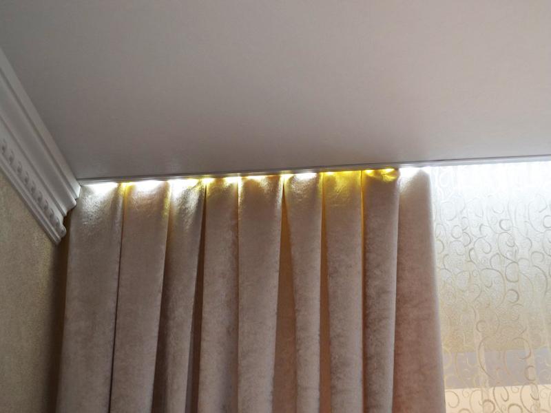 Как сделать потолочную гардину если потолок натяжной 760